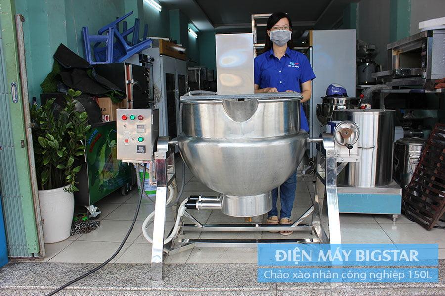 Máy xào nhân máy sên nhân công nghiệp 50L- 200L